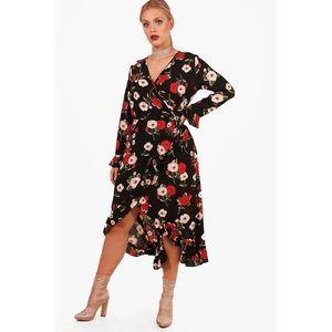 e9a453219d5b Boohoo Plus Dresses - Boohoo Plus Riley Floral Ruffle Wrap Tea Dress